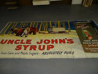 Vintage billboard advertising poster Uncle John's syrup stone litho 1920s