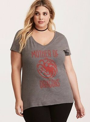 be310831 Torrid Plus Size Game Of Thrones MOTHER OF DRAGONS Women's T-Shirt NWT  Licensed
