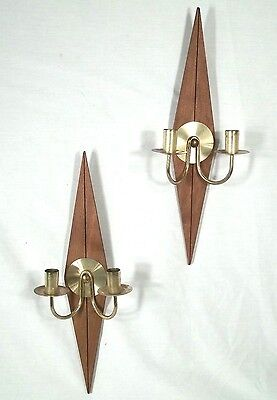 Pair Of Mid Century Modern Diamond Back Wood+Brass Double Arm Candle Sconces