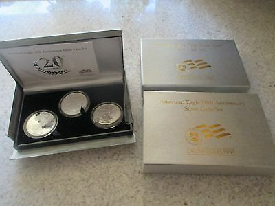 2006 US Mint Silver Eagle Proof Anniversary Set - 3 Coin Set with Reverse Proof!