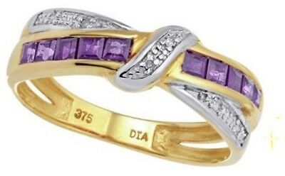 9ct Yellow Gold Eternity Diamond and Amethyst Crossover Ring