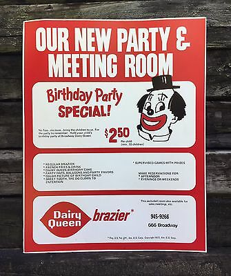 Cool Vintage 1972 DAIRY QUEEN Birthday Party Specials Clown Advertising Sign