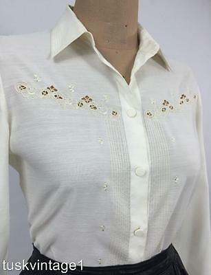 VINTAGE Mid century IVORY cotton blend finely EMBROIDERED blouse 10 12