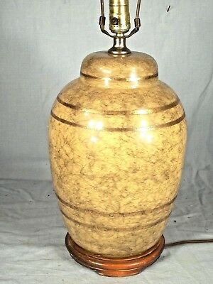 Vintage Mid Century Modern Reverse Painted Marbleized Glass Lamp On A Wood Base