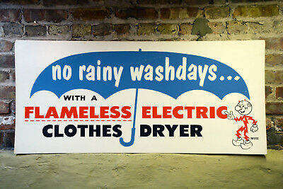 """Vintage 1960s Reddy KilowattFlameless Electric Clothes Dryer 44"""" Sign Power Co."""