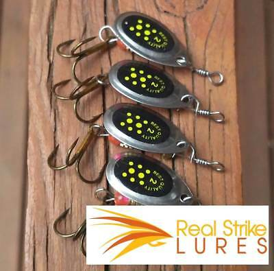 4pcs fishing lures Trout Spinners Redfin Bass Perch Cod yellowbelly