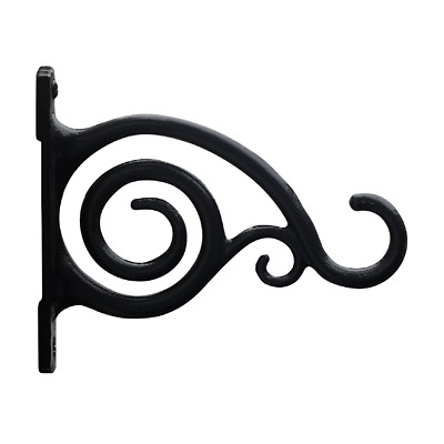 Fancy Curved Hook, Black, Cast Iron Wall Hooks For Bird Feeders, Planters