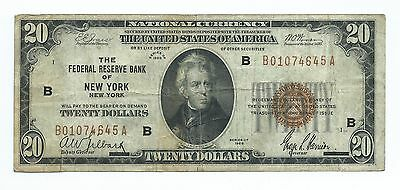 1929 $20.00 National Banknote -- The Federal Reserve Of New York, New York    #1