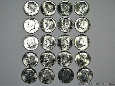 Roll of Unc 1964 Kennedy SILVER Half Dollars .50c $10 Face LOOK No Reserve|8781
