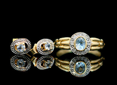 10k Yellow Gold Aquamarine and Diamond Ring and Earrings Set