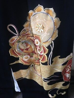 Vintage Black Silk Embroidered Kimono Costume Hand Made One of a Kind Old Kyoto
