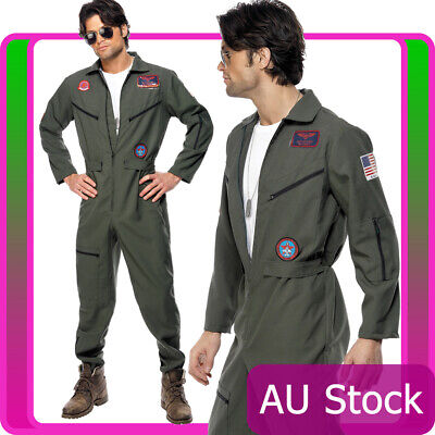 Mens Top Gun Costume Retro Men Aviator Pilot 1980s 80s Military Jumpsuit Outfit