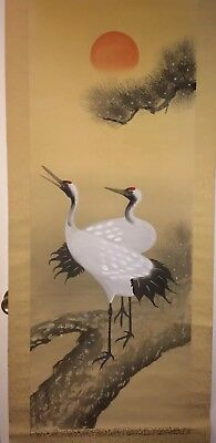 Chinese Crane Scroll Painting