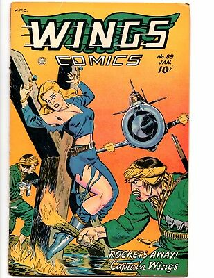Wings 89 (Fiction House 1 /1948) Terrific Burning At The Stake Bondage Cover