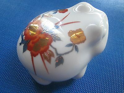 "Trinket Box Gold Imari Frog White &  Red Golden Flowers & Blue Leaves 3""x 4"""