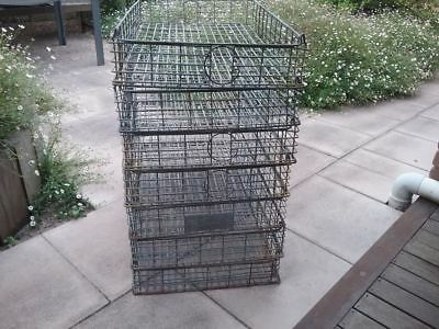Large Antique Industrial Wire Bread Crate Baskets - 7 items