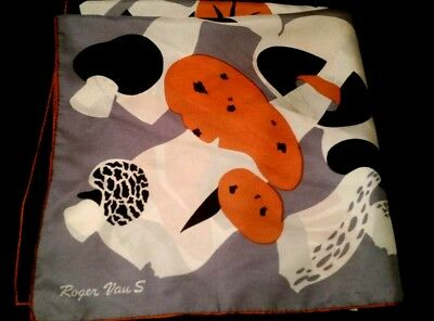 "vtg 1960's  ROGER VANS, silk scarf, 30"".sq.,hand hemmed, black/grey/burnt orange"