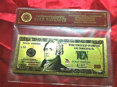 $10 Banknote Usa America $10 Gold Color Coloured Dollar Bill 24Kt Collectable
