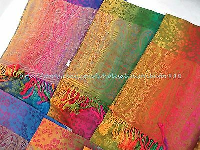 US SELLER- scarf womens scarf rainbow paisley flower  pashmina scarf