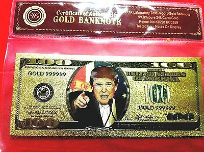 $100 Donald Trump Banknote Usa Color 24Kt  Gold America Dollar Novelty Note 3D