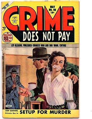 Crime Does Not Pay #98 (Lev Gleason 5/51) Crazy Bondage Cover, Vg 4.0