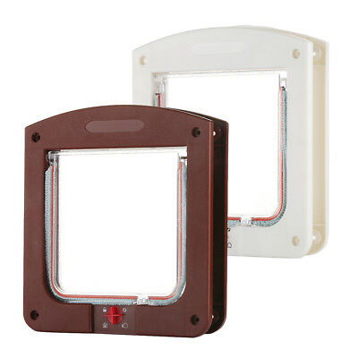 New 4 way Safe Lockable Pet Cat / Small Dog Flap Door White Frame Screen Locking
