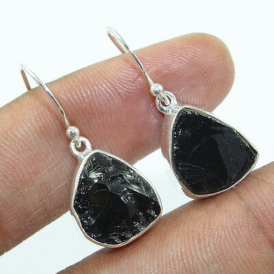 Natural Rough Black Tourmaline 925 Solid Sterling Silver Earrings Jewelry 5.6g