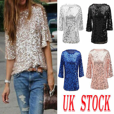 New Womens Bling Glitter Sequin Shirt  Ladies Casual Tops Blouse Size 6-18