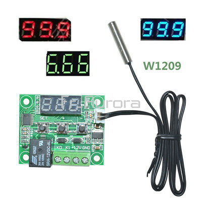 W1209 DC12V Digital Thermostat Temperature Controller NTC10K 1% 3950 Cable