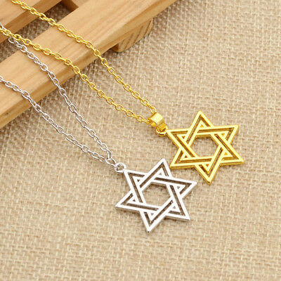Charm Hollow Out Star of David Pendant Necklace Chain Jewish Jewelry Unisex