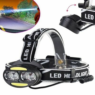 40000LM 4*XML-T6+2*COB LED USB Kopf Headlampe Stirnlampe Headlight Taschenlampe