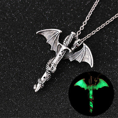 Game of Thrones Glow in the Dark Dragon Sword Necklace Luminous Pendant Jewelry