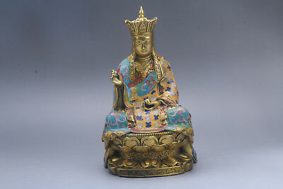 Collection Chinese Hand carving buddha cloisonne statue qianlong mark r419