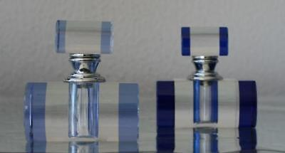 Crystal Glass Perfume Bottle Pair ( blue & purple) Gift