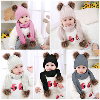 Baby Boy Girl Fur Double Pom Hat Winter Warm Knit Bobble Beanie Cap Scarves Set