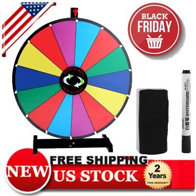"""Upgraded Editable 24"""" Color Prize Wheel Fortune Tabletop Spinning Game HT"""