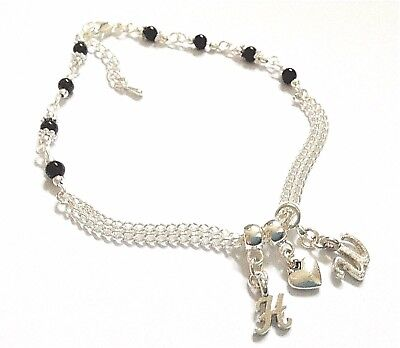 Black Onyx Gemstone Hw = Hot Wife Heart Double Silver Curb Chain Anklet