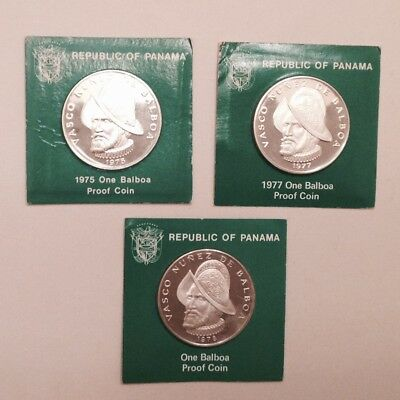 - 1975, 1977 & 1978 Panama One Balboa Silver Gem Proof - Low Mintage 3. Coin Lot