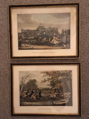 Two antique Prints hunting scene King George Winsdor Queen Royal horse picture