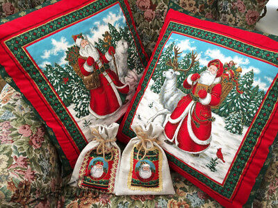 Pair of Christmas cushions, small bags for gift, decorative Christmas pillows