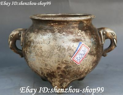 Collect Chinese Old Silver Marked Elephant Head Incense Burner Censer Statue