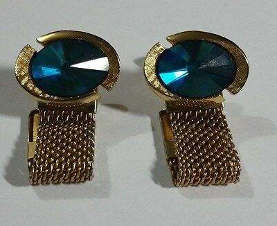 VINTAGE 60's-70's GOLDTONE WITH WRAP AROUND MESH CUFFLINKS