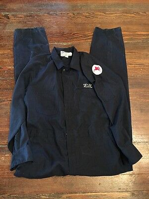 Vintage Unitog Overhauls Mobil Pegasus Oil Patch Mechanic Uniform