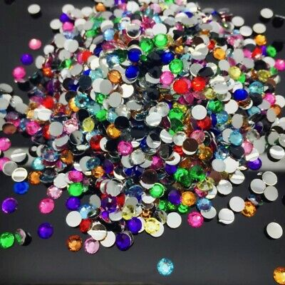 800pcs 4mm Facets Resin Rhinestone Gems round FlatBack Crystal Beads #788