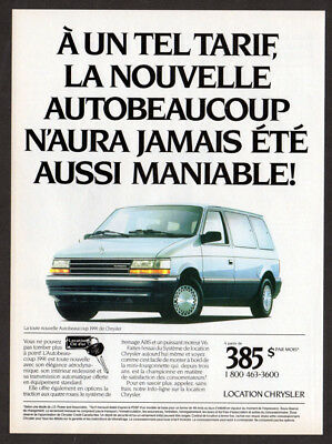 1991 PLYMOUTH Voyager Vintage Original Print AD - Chrysler rent autobeaucoup
