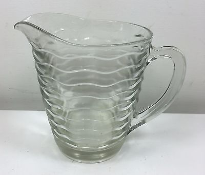 Vintage Art Deco Clear Pressed Glass Pitcher Jug - Vg Cond.