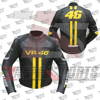 VR46 Valentino Rossi Motorcycle Leather Racing Jacket Available All Size