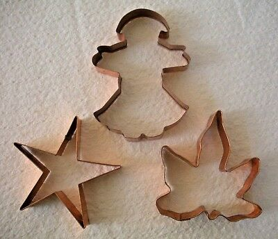 VTG Lot of 3 Christmas Star Angel Leaf Large Heavy Copper Cookie Cutter/Ornament