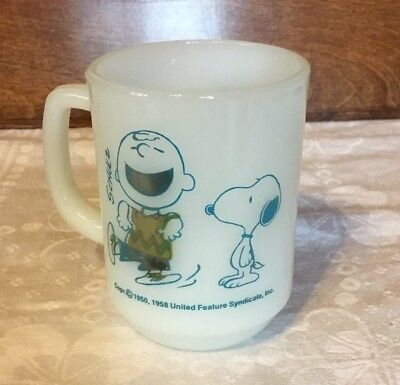 """Vintage Fire King SNOOPY CHARLIE BROWN MUG """"I Feel Strangely Confident Today"""""""
