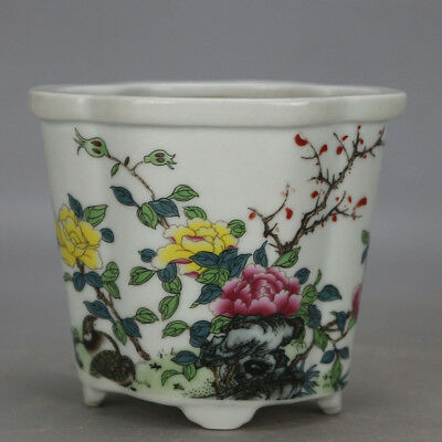 Chinese old hand-carved porcelain famille rose glaze flower pattern flowerpot